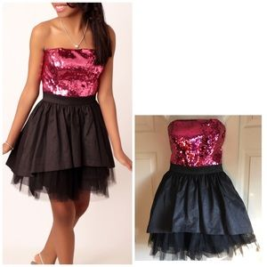 Betsy Johnson pink black sequin tulle dress small
